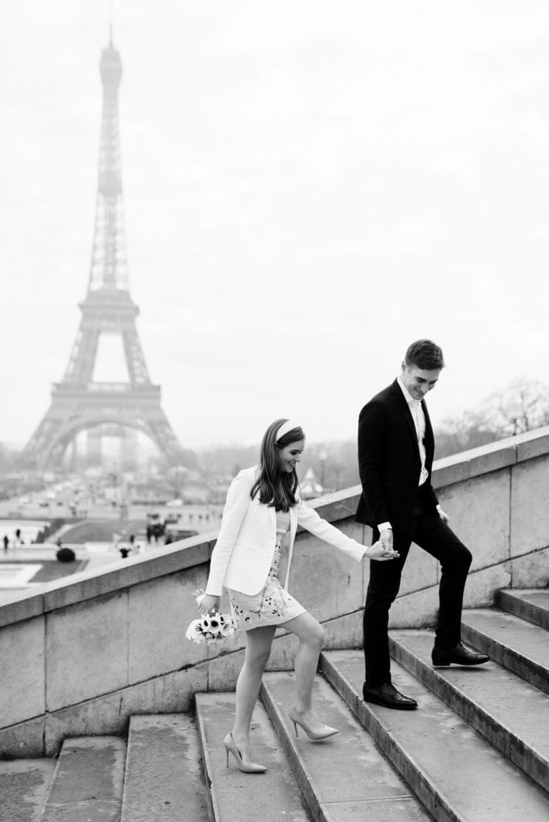 Photographie de mariage à Paris - Trocadéro et vue sur la Tour Eiffel| Photographe Mariage PARIS - QUEIGNEC PHOTOGRAPHE
